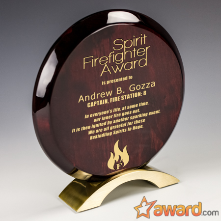 Elegant Beveled Rosewood Disc Award